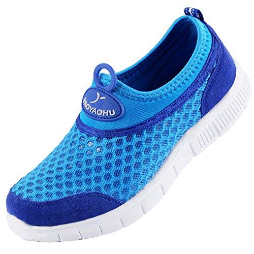 VECJUNIA Kinder Atmungsaktiv Leichte Mesh Sport Sneakers Flach Laufschuhe für Jungen und Mädchen Blau 26 EU