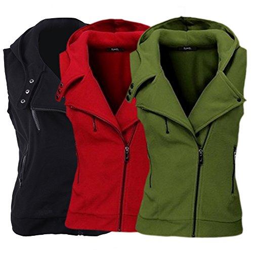 iBaste Sweatweste Damen mit Kapuze Weste Ärmellos Übergangsweste Herbst Zip Hoodie Waistcoat Herbst Jacket für damen Grün