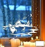 ilka parey wandtattoo-welt® Fensterbild Fensterdeko Winterbild Schneemann und Ente die