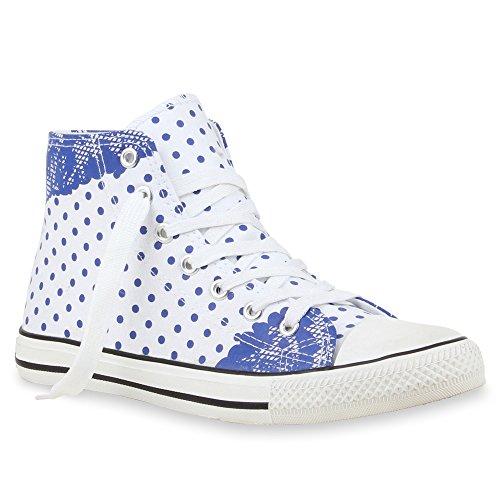Trendy Damen Sneakers   Sportliche Sneaker High   Stoffschuhe Camouflage   Animal Print Muster Sportschuhe Weiss Blau