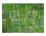 Sukhi Ecrin: Verde Vintage Patchwork tappeti Fatti a Mano da Vecchi tappeti persiani (200cm x 300cm / 6' 6.7'' x 9' 10.1'')