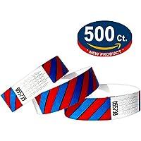 Tyvek Pulseras - A rayas - 500 unidades - Azul-Rojo neón - Tyvek pulseras para eventos