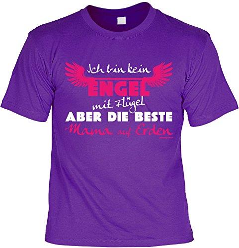 T-Shirt für die beste Mama: Ich bin kein Engel mit Flügel aber die beste Mama auf Ernden - Geschenk für besondere Anlässe - violett Violett
