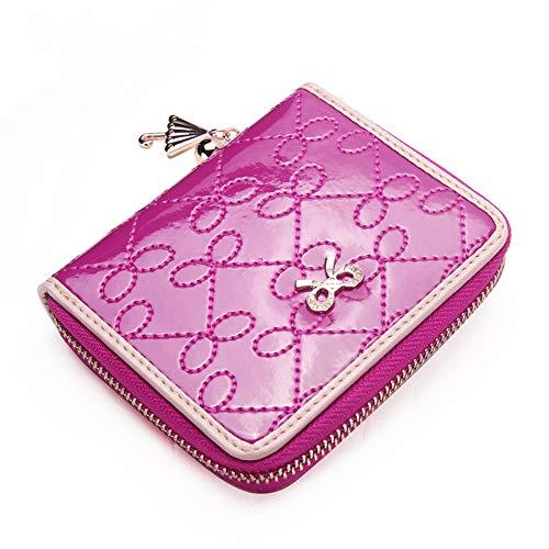 CXLIN Portafoglio da Donna con Cerniera Portafoglio Multifunzione a Prova di Strappo Cintura Decorativa in Metallo Multi-Card Slot Portafoglio,Pink