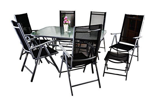 Nexos 9-Teiliges Gartenmöbel-Set – Gartengarnitur Sitzgruppe Sitzgarnitur aus Gartenstühlen & Esstisch (Glasplatte: Klar) + Hocker – Schwarz Grau