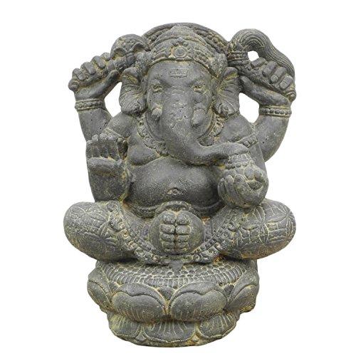 Ganesha Hinduismus Buddhismus Gott Götterbote Ganapati Geschenk Stein Lavastein Grau 40cm