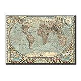 KiarenzaFD Quadro su Tela Canvas Stampa Planisfero Antico Mondo Mappa Vintage Carta Geografica Dimensioni 100x70cm Arredo per Soggiorno Salotto Camera da Letto Cucina Ufficio Bar Ristorante