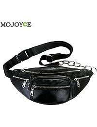 Buyworld Unisex Zipper Waist Pack Solid Crossbody Bags For Women Pu Shoulder Chest Bag Large Capacity Ladies Handbag...
