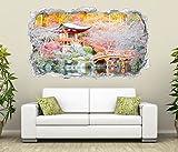 3D Wandtattoo japanische Garten rosa Tempel Wasser Spa Wand Aufkleber Durchbruch Stein Wandbild Wandsticker 11N350, Wandbild Größe F:ca. 140cmx82cm