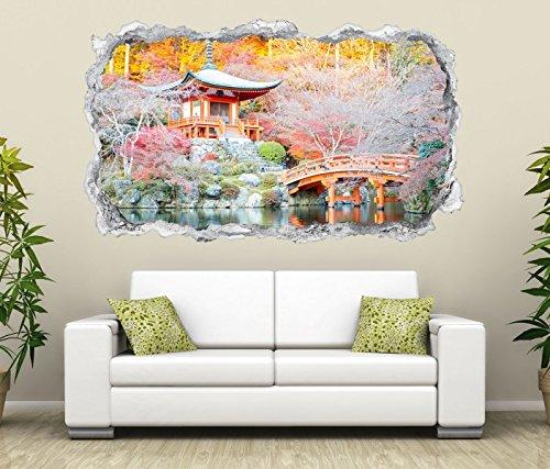 3D Wandtattoo japanische Garten rosa Tempel Wasser Spa Wand Aufkleber Durchbruch Stein Wandbild Wandsticker 11N350