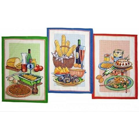 4 Pezzi. Strofinacci Italian Meal, misura 50 x 70 cm, cotone