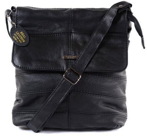 Ladies Leather Cross Body Bag / Shoulder Bag ( Black )