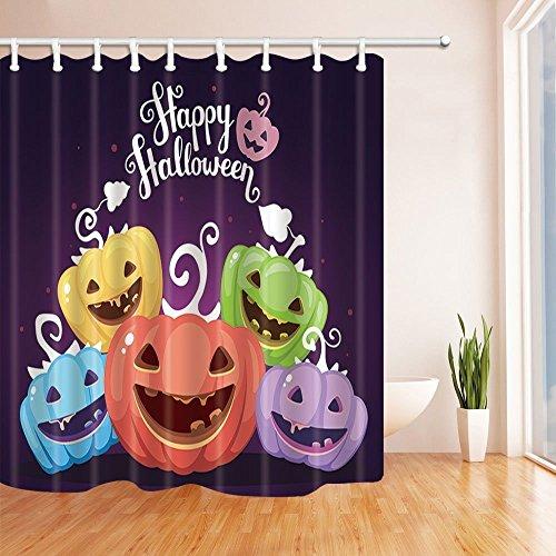 �rbisse mit Augen Smiles Zähne für Halloween Dusche Polyester-Vorhänge für Badezimmer-Wasserdicht Bad Vorhang Vorhang für die Dusche Haken enthalten 179,8x 179,8cm (Halloween-dusche Vorhang-set)