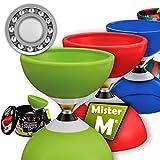 Kugellager Diabolo + Alu Stöcke + GRATIS online Lern-Video in einer Geschenkbox - von Mister M (Grün)