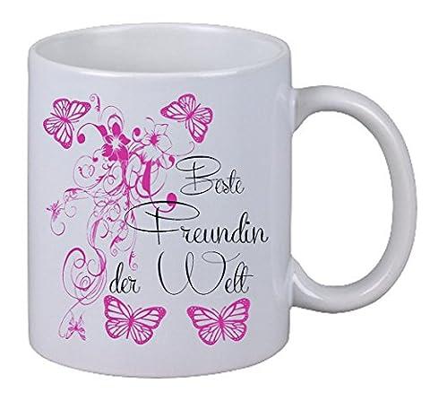 "Kaffee Tasse ""Beste Freundin Floral"" Geburtstag Geschenk Überraschung Butterfly"