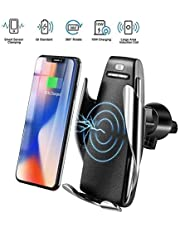 SYSTENE Wireless Charging Car Phone Mount with Automatic Clamping 10W Quick Charger, Smart Sensor Control, 360° Rotation, Compatible with All Wireless Charging QI Enabled Devices - Black