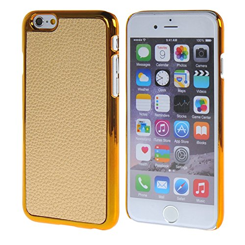 """MOONCASE Litchi Skin Doré Chrome Hard Shell Cover Housse Coque Etui Case pour Apple iPhone 6 Plus (5.5"""") Orange Doré"""
