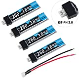Crazepony 4pcs 260mAh HV LiPo Battery 30C 3.8V for Tiny Whoop Blade Inductrix JST-PH 2.0