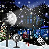 Lampe de projection, projecteur de chute de neige, lampe de projection de paysage flash étanche IP65 avec éclairage de jardin décoratif à télécommande, fête de noël intérieur et extérieur