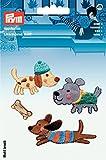 Prym Hund Thema bestickt selbstklebend Aufkleber/Bügelbild Aufnäher Motiv mehrfarbig, Mischgewebe, Polyester-Set, 4-tlg.