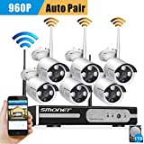 [Better Than 720P]Smonet 6 Channel HD Wireless Video Security System (NVR Kits) with 6pcs 960P Wireless IP Camera System,Plug and Play,1TB HDD