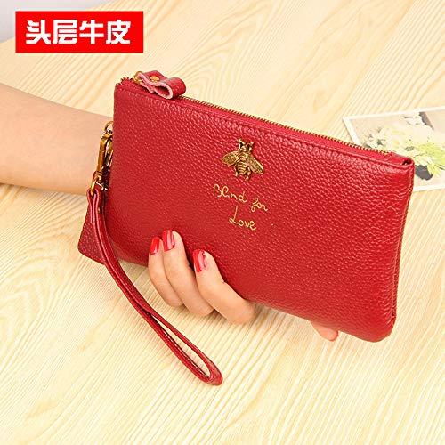 Kleine Bienen Geld Clip Rindsleder Lange Dame Leder Brieftasche 20 x 11cm Liquor Red