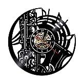SSCLOCK 1 Pieza Instrumento de música Disco de Vinilo Reloj de Pared decoración del hogar saxofón Silueta Regalo para Amante de la música