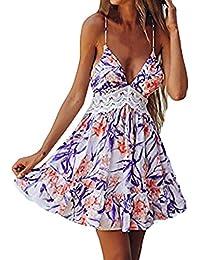 Vestido mujer verano 2018 vestido de playa Mini vestido sin mangas de encaje empalmado de flores