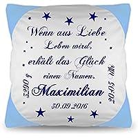 Namenkissen Kissen mit SPRUCH ++Wenn aus Liebe Leben wird...++personalisiert Daten Baby Jungen Buben Geschenk zur Geburt oder Taufe Wunschkissen .
