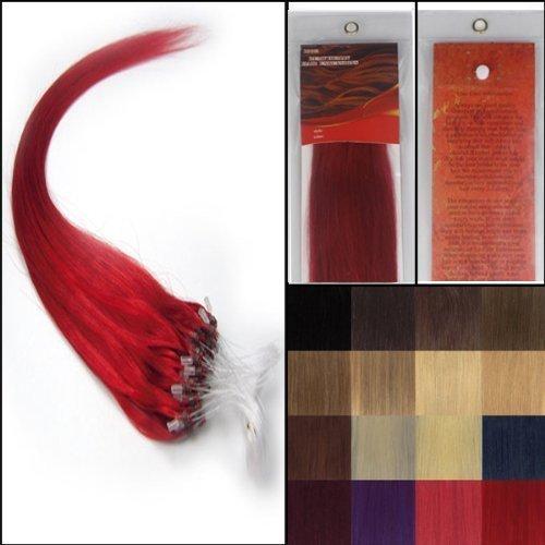 50.8cm Lisse Boucles Micro Anneau Perles Pointu Cheveux Humains Extensions 100S Rouge Femmes beauté Hairsalon Style Motif 0,5g/s