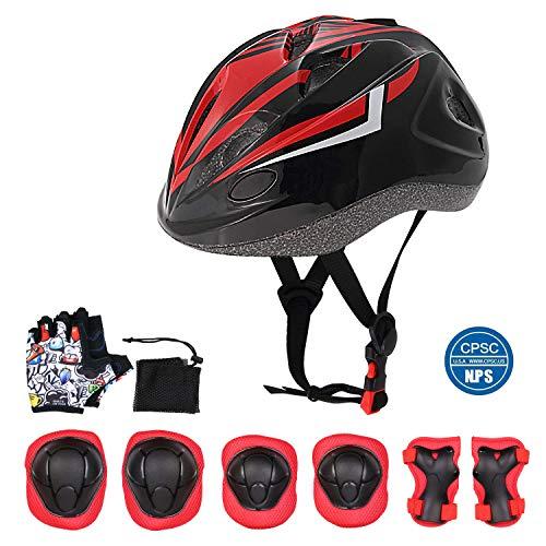 Odoland Kinder Helm Set inkl. Kid Fahrradhelm Knieschoner CPSC Zertifizierung für Skateboard, Scooter, BMX 3-7Jahre Alt Junge Mädchen
