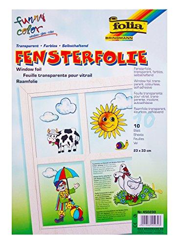 Preisvergleich Produktbild folia 450230 - Fensterfolie farblos, 23 x 33 cm, 10 Blatt
