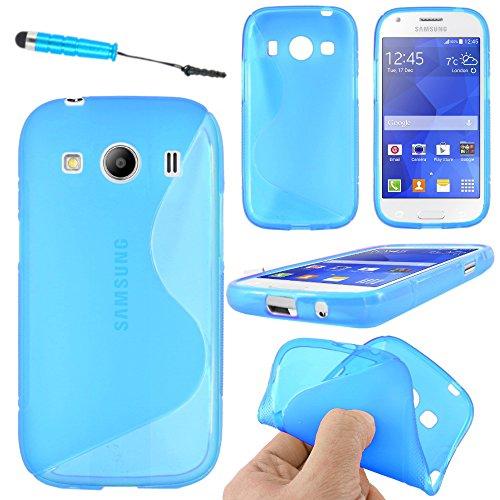ebestStar - Compatibile Cover Samsung Ace 4 Galaxy SM-G357FZ Custodia Protezione S-Line Design Silicone Gel TPU Morbida e Sottile + Mini Penna, Blu [Apparecchio: 121.4 x 62.9 x 10.8mm, 4.0'']