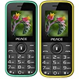 Peace P3 Green+ P3 Yellow COMBO OF TWO Mobile Phones With 1.8 Inch, Dual Sim, 850 MAh Battery, Wireless FM, Bluetooth, Digitel Camera, Call Recording, MP4, Internet & 1 Year Warranty