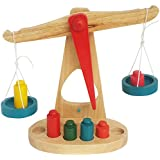 Trinkets & More™ - Beam Balance Weighing Scale | 6 Colourful Weights | Wooden Montessori Toys Kids 3+ Years