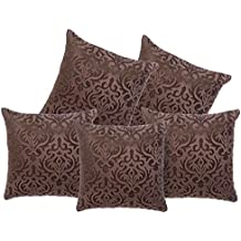 Belive-Me Velvet Cushion Cover (16x16inch/40x40cm, Brown) - Set of 5