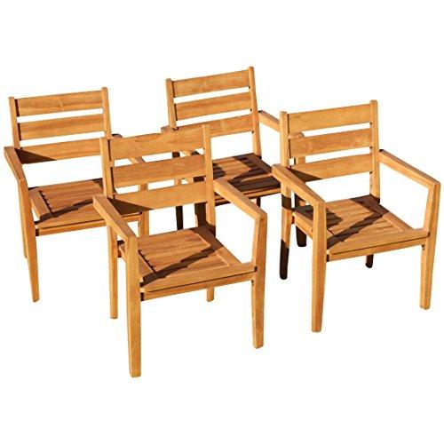 ASS 4Stk Echt Teak Design Gartensessel Gartenstuhl Sessel Stapelsessel  Gartenmöbel Holz Stapelbar Sehr Robust Modell: