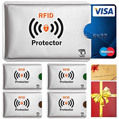 TRAVANDO ® RFID-Schutzhülle Set (5 Stück) für Bankkarte, EC-Karte, Personalausweis, Kreditkarten - 100%Datenschutz durch Kreditkartenhülle / Kartenschutzhülle + GRATIS E-Book - in Geschenkverpackung