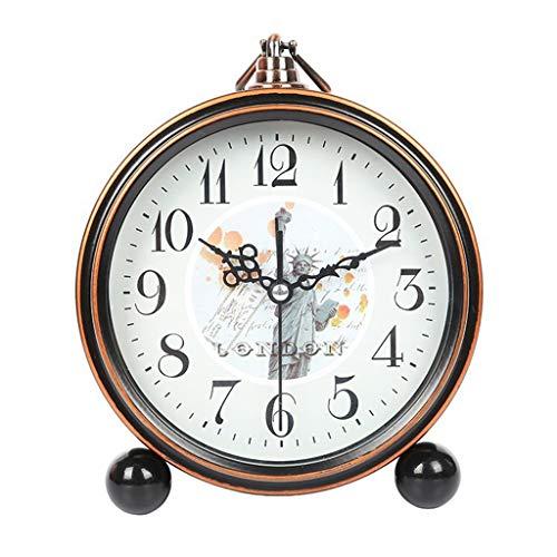BOBM Classic Retro Desk Clock, European Style Vintage Silent Desk Alarm Clock Home Decorative Clock Non Ticking Quartz Movement Battery Operated for Haus Dekoration (Color : B) (Classic Desk Clock)