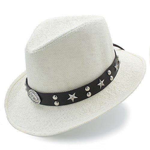 Sahne Kostüm - HÖHERE MÄNNER Frauen Männer Stroh Western Sombrero Cowboyhüte Papa Strand Sonnenhut Cowboyhut (Farbe : Sahne, Größe : 58 cm)