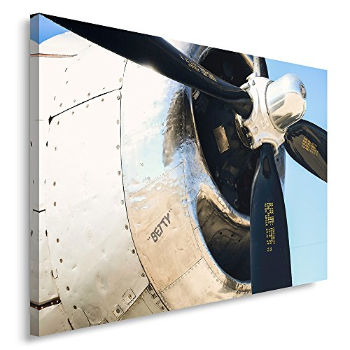 Feeby Frames Canvas Picture, Canvas Print, Canvas Decoration, One Piece Canvas, 80x120 cm, Propeller, Airplane, Black, Gray