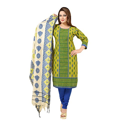 IDHA Handloom Cotton Printed Ethnic Stitched Suits for Women - Mehendi Color / Blue