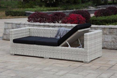 Multi Sofa Gartensofa mit Kissen Poly-Rattan, white wash - 4