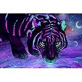 MAIYOUWENG Tigre Fluorescente Puzzle 1000 Pezzi in Legno di Colore Pittura di Arte Jigsaw Puzzle Toys Adulti Adolescenti Kids Home Decor Regalo