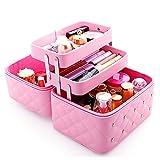 FYX Kosmetikkoffer Makeup Box Kosmetiktasche Schminkkoffer für Reisen Dienstreise weich 25*19*21cm Schwarz Rosa Pink (Pink)