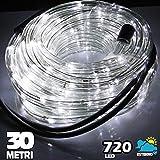 Tubo Luminoso a LED per Natale luci natalizie per Esterno e Interno impermeabile 30 metri 720 led luce BIANCO FREDDO con controller per 8 Giochi di Luce