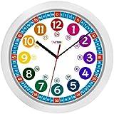 Cander Berlin B01BQN6KPI, Cander Berlin MNU 1030 Kinderwanduhr (Ø) 30,5 cm Kinder Wanduhr mit lautlosem Uhrenwerk und farbenfrohem Design - Ablesen der Uhrzeit lernen