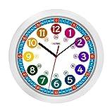 ONETIME Kinderwanduhr () 30,5 cm Kinder Wanduhr mit lautlosem Uhrenwerk und farbenfrohem Design - Ablesen der Uhrzeit lernen