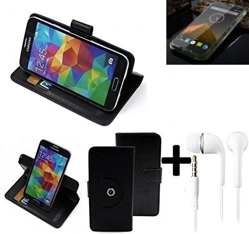 K-S-Trade® Hülle Schutzhülle Case für Blackview BV 5000 + Earphones Handyhülle Flipcase Smartphone Cover Handy Schutz Tasche Walletcase schwarz (1x)