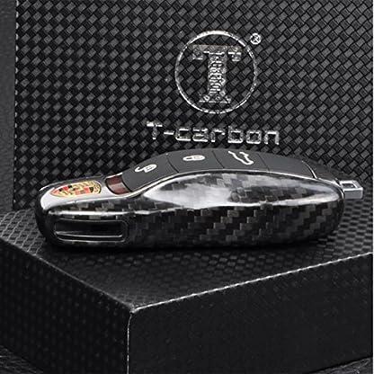 T-Carbon-Schlsselanhnger-aus-echtem-Carbonfasern-Fernbedienung-Flip-Key-Schutzhlle-fr-Porsche-991-und-981-Cayenne-Panamera-glnzend-schwarz
